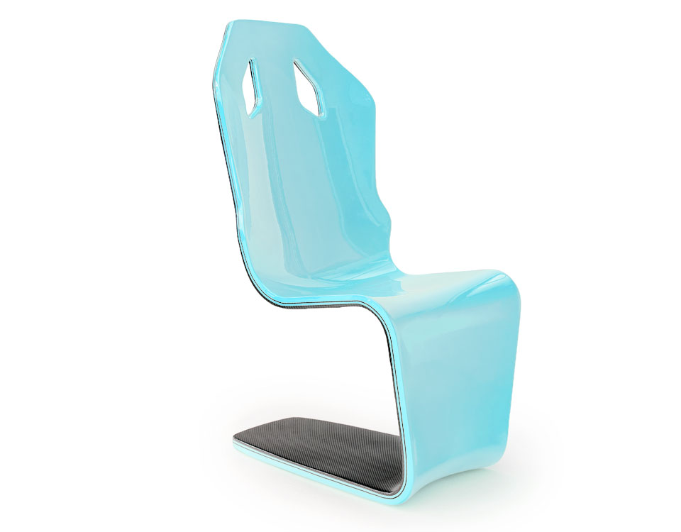 racing blue automotive chair